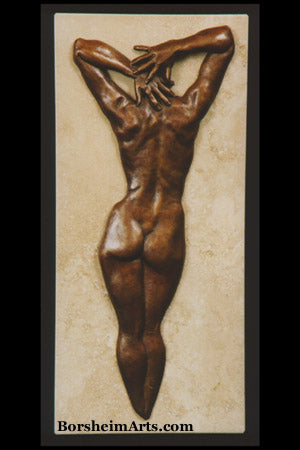 Ten Bronze with Travertine Base Figure Bas-Relief Sculpture