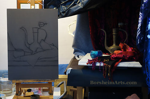 Setting up the Still Life Composition and Drawing on the Primed Grey Wood Panel