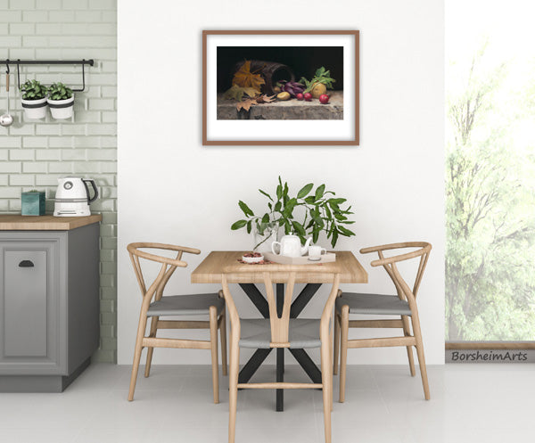 fine dining is better with art on the wall above the table here a still life painted from live veggie models
