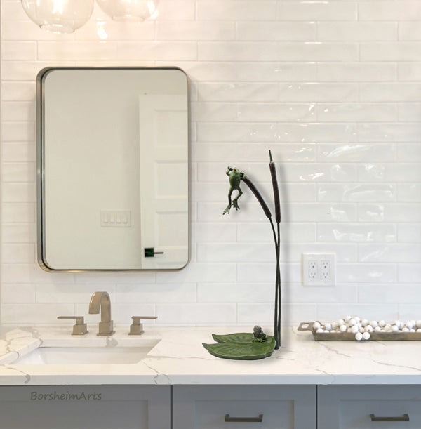 Cattails and Frog Legs bronze acquatic sculpture set in a bathroom home decor