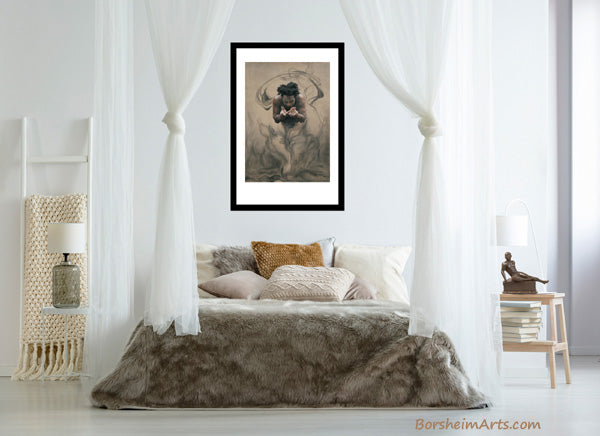 Il Dono, the gift, is a neutral colored pastel and charcoal drawing, shown here over canopy bed in bedroom mock-up image