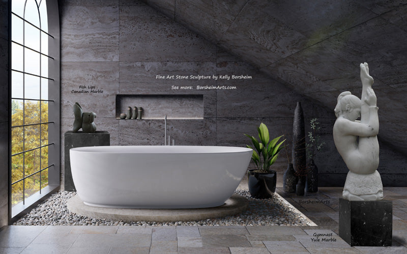Fish Lips marble back left, Gymnast marble right in elegant bathroom with dark grey stone tiles decor