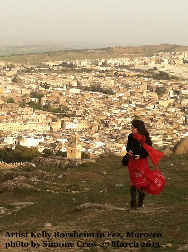 Artist Kelly Borsheim in Fez, Morocco Photo by Simone Crew 2012
