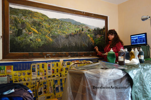 Artist Kelly Borsheim Self Portrait with Mural Work in Progress Italy