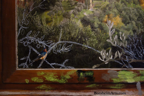 Swallow Rodino painted in acrylic while olive branches still in chalk in mural