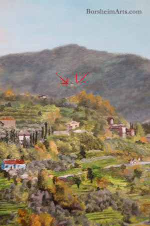 Cava Nardini of Vellano on the hill behind Sorana Valleriana mural