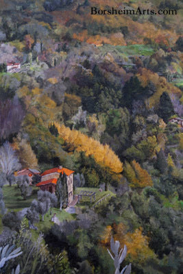 Forests in the hills of Valleriana painted into the Tuscan mural