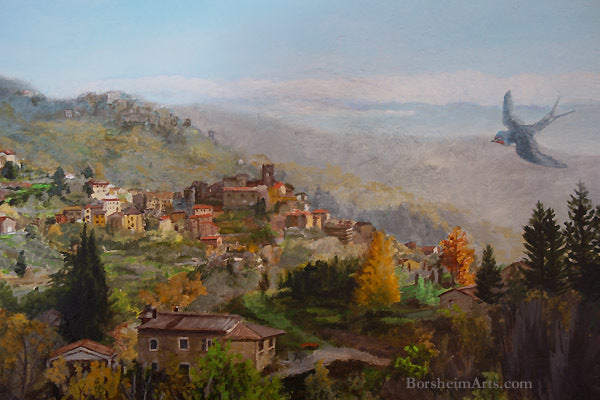 Mural detail is one of several available as print Swallow flies over Valleriana Tuscany