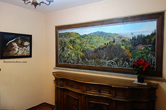 Finished Mural of Faux Window View of Sorana in Valleriana Tuscany Italy