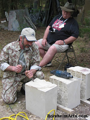 Sculptor Vasily Fedorouk Teaches Stone Carving Workshop to carver Dale Gibson