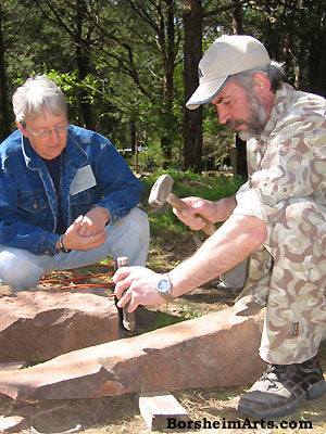 Pat Moore learns how to split stone from Vasily Federouk Texas workshop