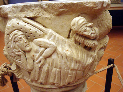 ancient stone carved vase bas-relief sculpture Bardini Museum in Florence Italy