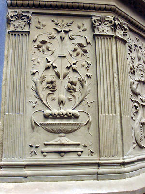 beautiful stone bas-relief sculpture detail of pulpit vase Bardini Museum in Florence Italy
