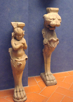 Architectural gargoyles for staircase in Bardini Museum Florence Italy