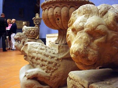 old stone carvings on architectural designs in Bardini Museum Florence Italy