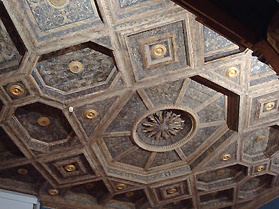 carved and painted wood ceiling Bardini Museum Florence Italy