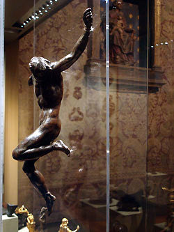 Side view bronze crucifix Bardini Museum Florence Italy