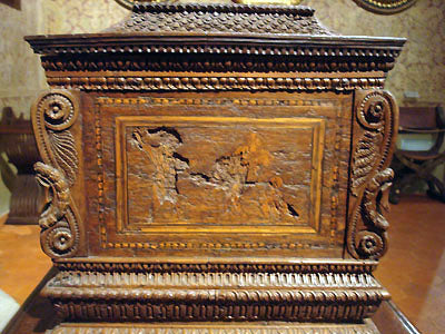 Beautifully carved wooden chest Bardini Museum Florence Italy