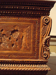 Detail of hand carved wooden chest with bas-relief sculpture Bardini Museum Florence Italy