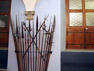 weapon room with sword display Bardini Museum Florence Italy