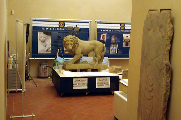 sculpture of a lion being restored inside the Bardini Museum Florence Italy