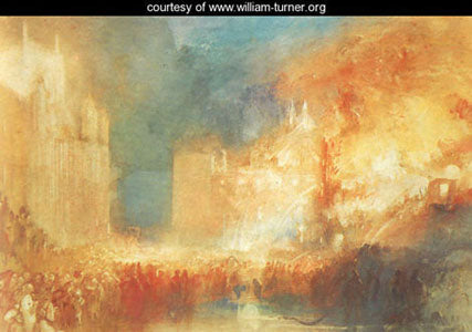 """Burning of the House of Parliament"" painting by JMW Turner"