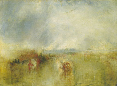 """Procession of Boats with Distant Smoke - Venice"" c. 1845 90 x 121 cm oil painting by JMW Turner"