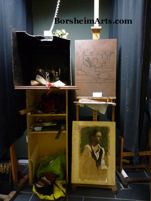 Starting the Drawing on Canvas for the Still Life Painting Giuseppe's Tools