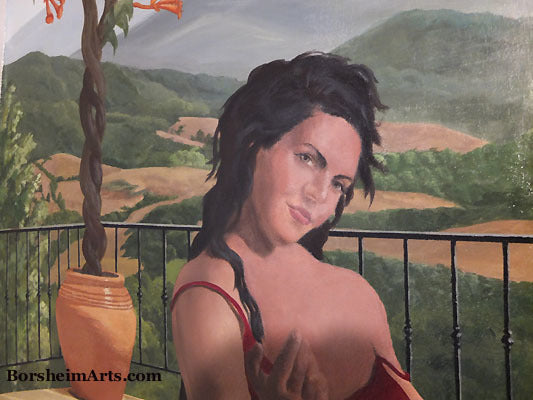 Tuscan Mural Detail of Woman with Come Hither Gesture Painting