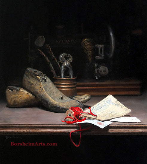 Tenebrism Oil Painting Old Shoe Forms Sewing Machine Old Letters Still Life Painting