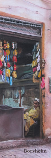 Merchant pastel drawing by Kelly Borsheim in Morocco