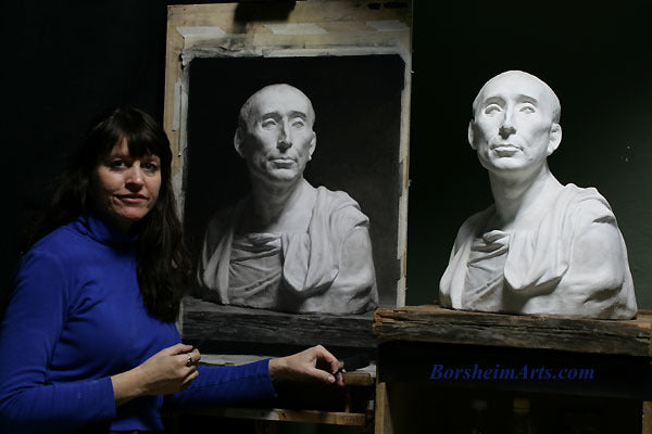 Artist Kelly Borsheim draws in Charcoal on Niccolo' da Uzzano