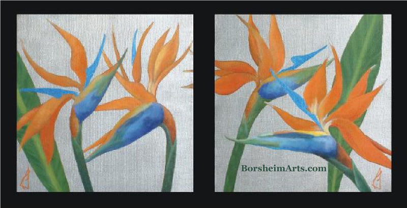 Birds of Paradise Diptych Painting Acrylic with Metallics