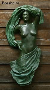 Bronze Wall Hanging Sculpture of Woman Looking Out
