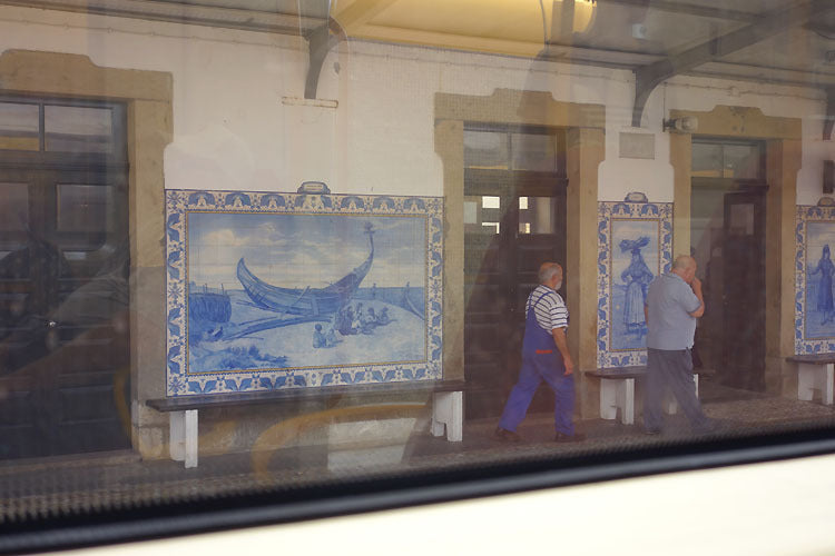 View from Train Portuguese Blue Azulejos Ceramic Tile Mosaic Art Portugal