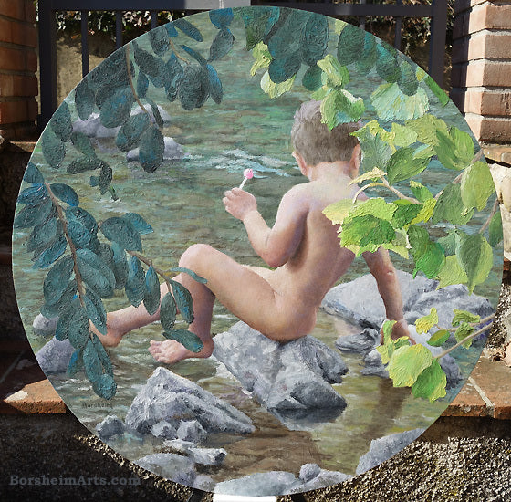 Lollipop, 30-in diameter, Oil on Wood Painting of young nude boy in river