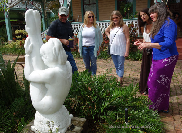 We had a great turnout of appreciative lovers of art in Sanford, Florida. Here with my Gymnast marble carving.