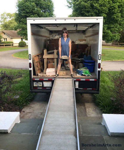 Brother Michael and I unloaded my rented truck full of art, Norfolk, Virginia 9 May
