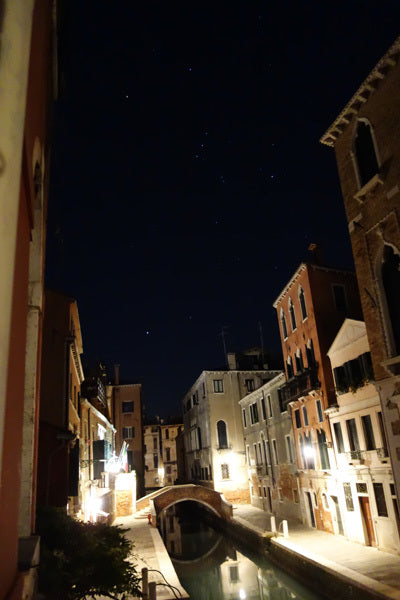 Venezia Italia 4 am with constellation Orion on view in early morning sky Venice Italy