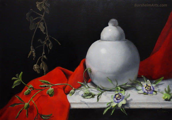 Red White Passion Flowers Still Life Oil Painting Bright Red Cloth