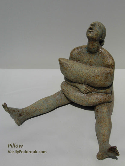 Pillow Ceramic Sculpture Person Hugging Pillow with Legs Spread sitting