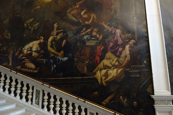 The other side of the staircase painting La Grande Scuola di San Rocco, Venice