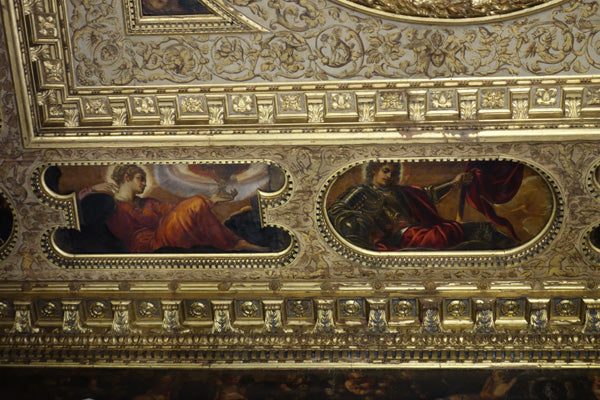 Figurative Paintings between Gilded Wood Designs on the Ceiling La Grande Scuola di San Rocco, Venice