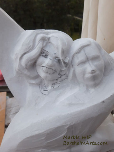 Sisters Marble Carving Work in Progress Picture