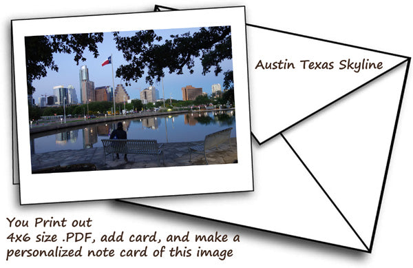 digital download as a notecard image is of Austin Texas Skyline