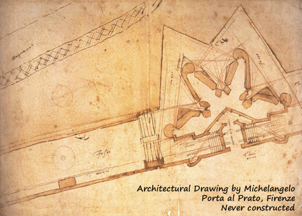 Architectural drawing by Michelangelo that looks like a fortress, no?