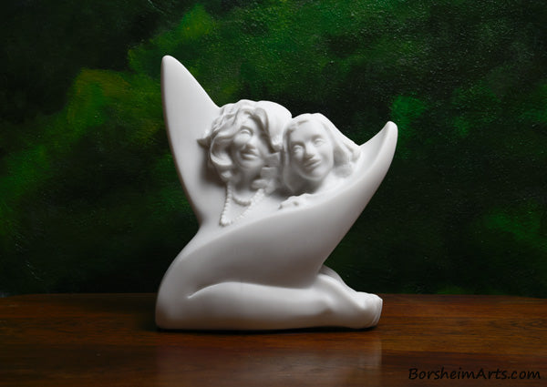 Sisters, a commission stone carving portrait sculpture in white marble from Carrara, Italy