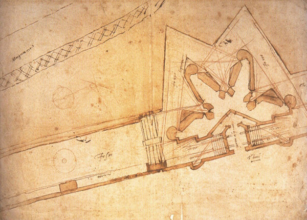 Michelangelo architectural drawing of fortress for Porta al Prato in Florence Italy