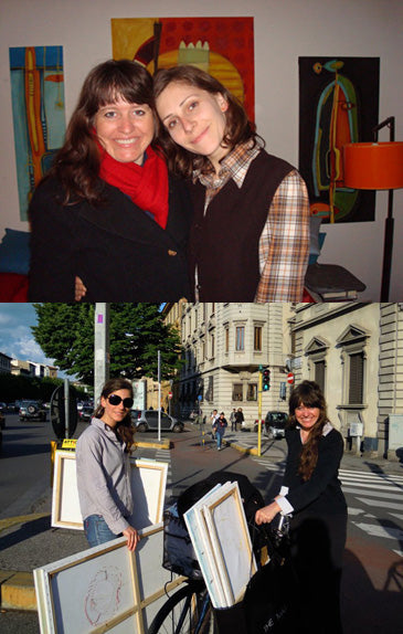 Artists American Kelly Borsheim and Serbian Dragana Adamov in Florence, Italy