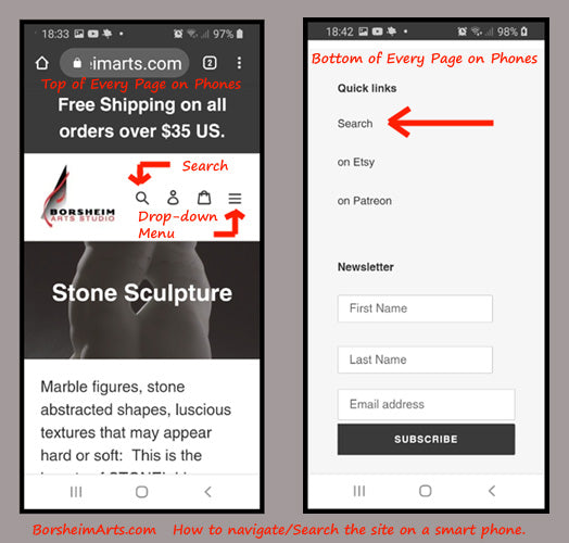 Instructional image for how to find search, art menu, currency, and more features on your smart phone